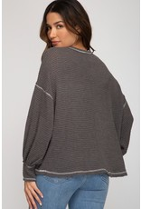 The Cartwheel Waffle Knit Top