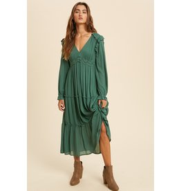 The Let's Meet Ruffled Midi Dress