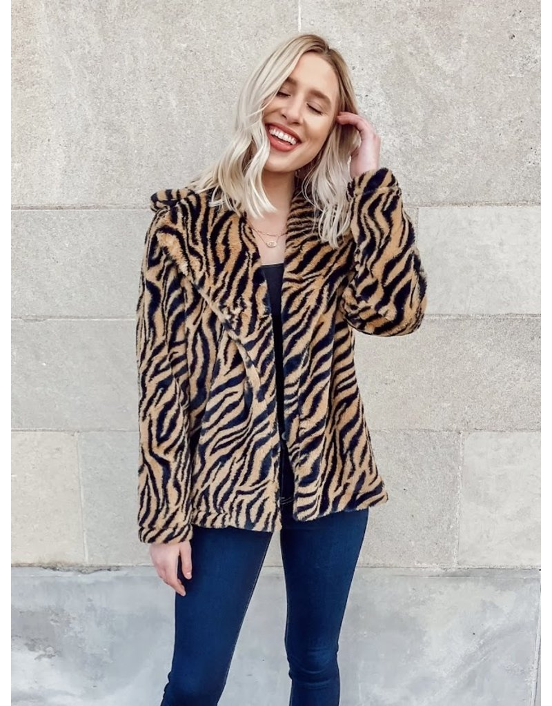 The Theatrical Tiger Striped Faux Fur Jacket