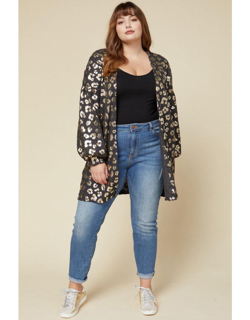 The All That Glistens Metallic Leopard Cardigan