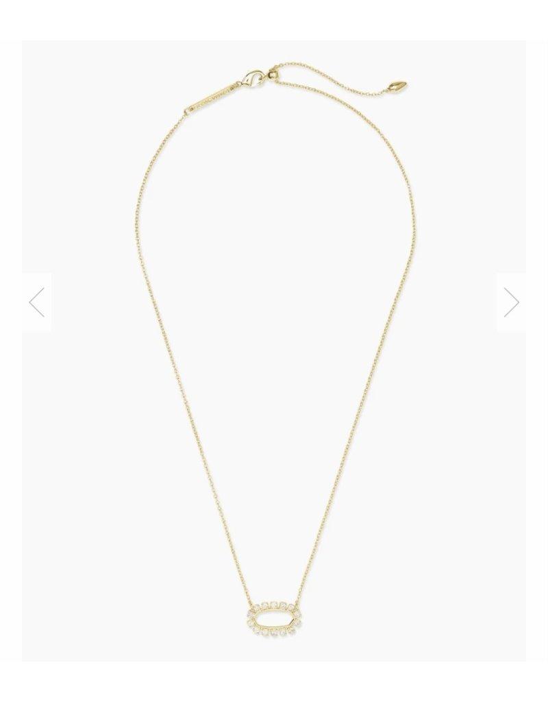 The Elisa Gold Open Frame Crystal Pendant Necklace
