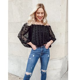 The Jazz Off The Shoulder Swiss Dot Blouse