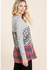 The Sandra Leopard Color Block Top