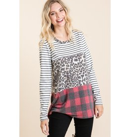 The Sandra Leopard Color Block Top