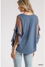 The Julianna Floral + Leopard Sleeve Top