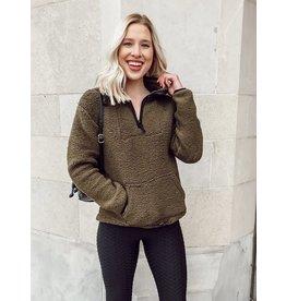 The Annie Quarter Zip Sherpa Pullover