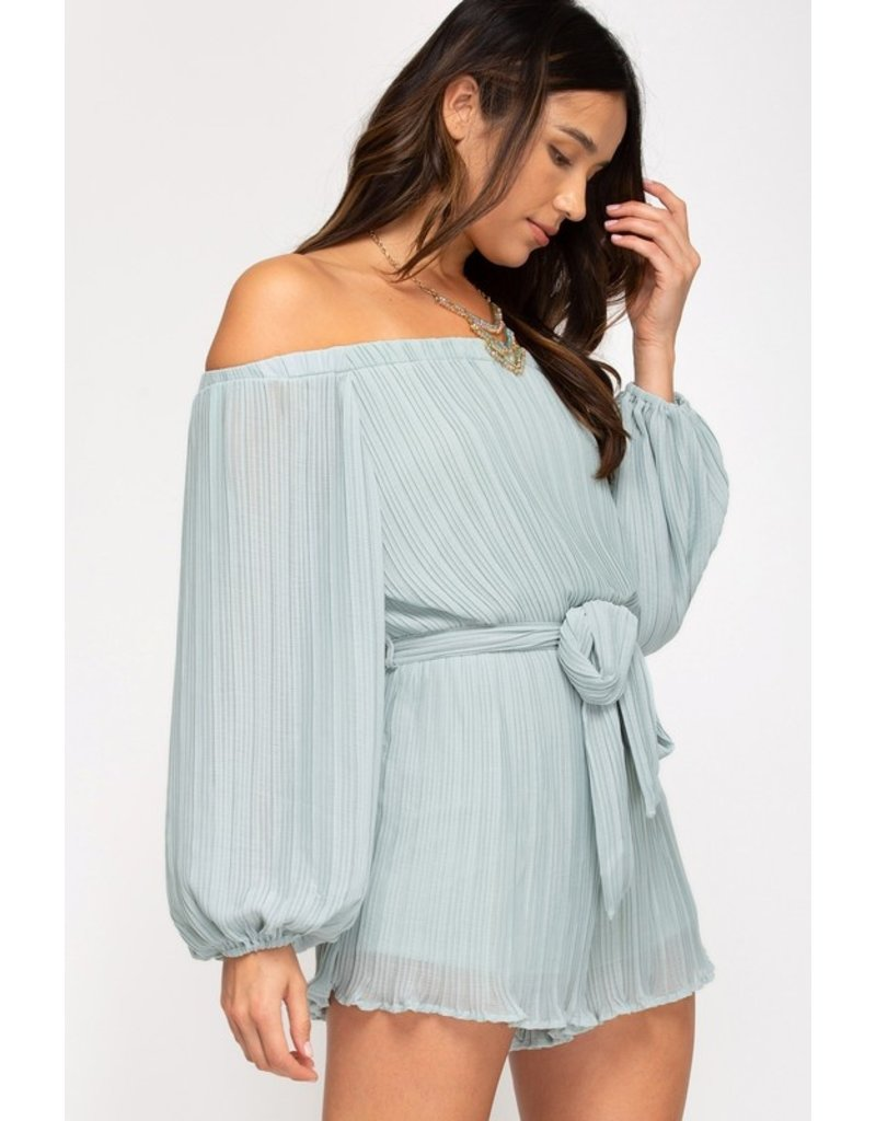 The Bambi Off The Shoulder Pleated Romper