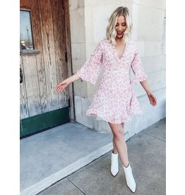 The Frosted Cranberry Floral Ruffled Dress