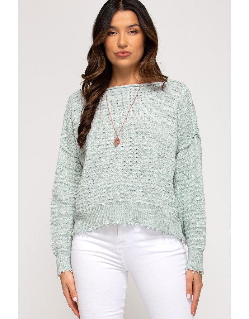 The Staycation Frayed Hem Sweater