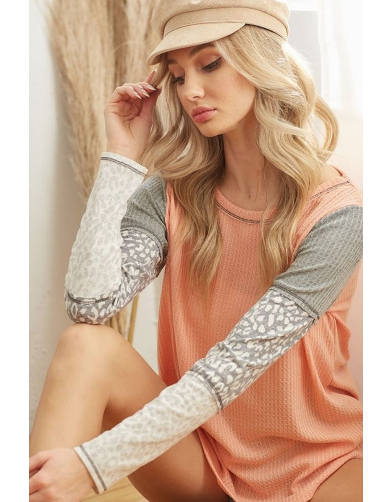 The A Life In Leopard Waffle Knit Top