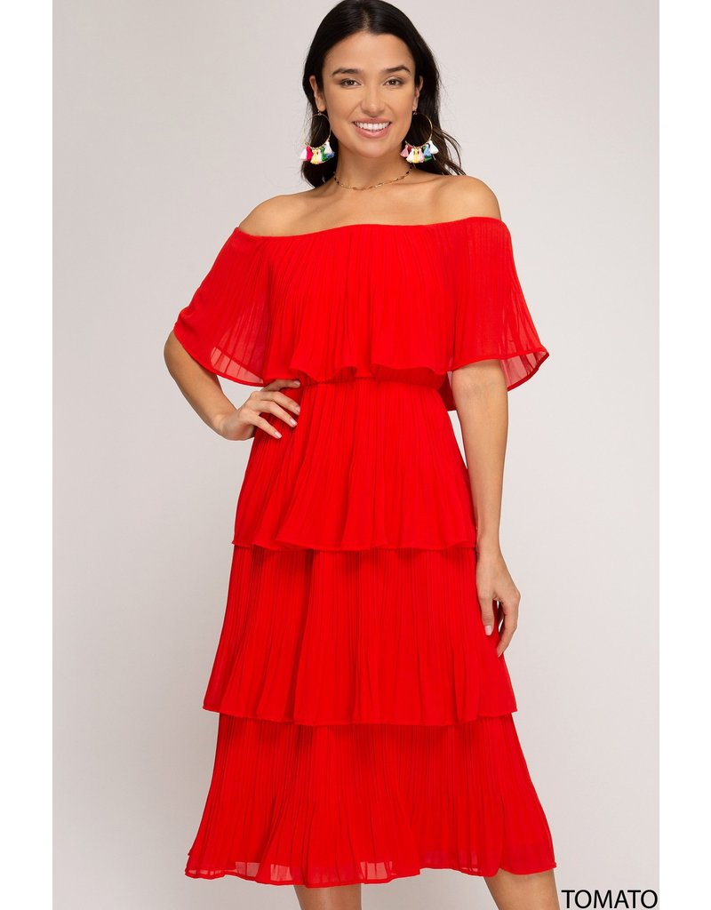 The Desert Flames Off The Shoulder Midi Dress