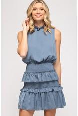 The Blue Skies Ruffled Smocked Dress