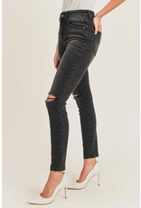 The Aniston High Rise Slit Knee Skinny - Black