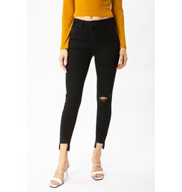 The Bobby Distressed High Rise Skinny - Black