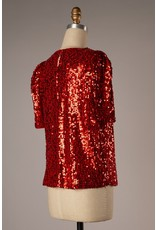 The Plaza Lights Puff Sleeve Sequin Top