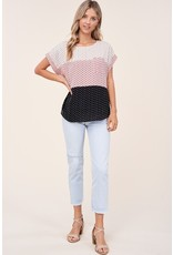 The Real Love Spotted Color Block Top