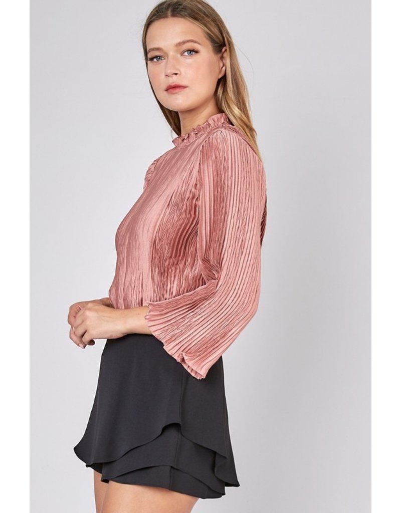 The Romance Me Pleated Mock Neck Top