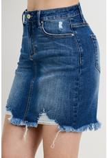The Motive Distressed Denim Skirt