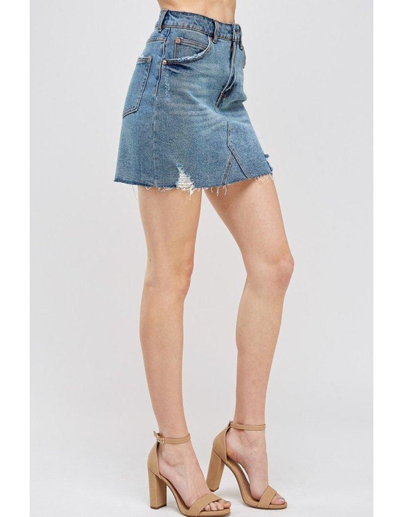 The Waco Distressed Denim Skirt