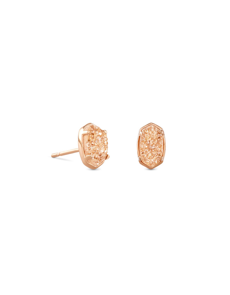 The Emilie Rose Gold Stud Earrings In Sand Drusy