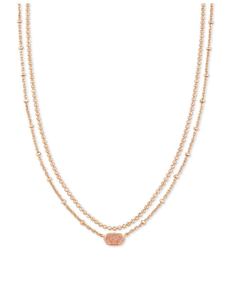 Kendra Scott Emilie Rose Gold Multi Strand Necklace In Sand Drusy