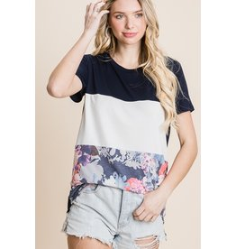 The Rosie Floral Color Block Tee - Navy