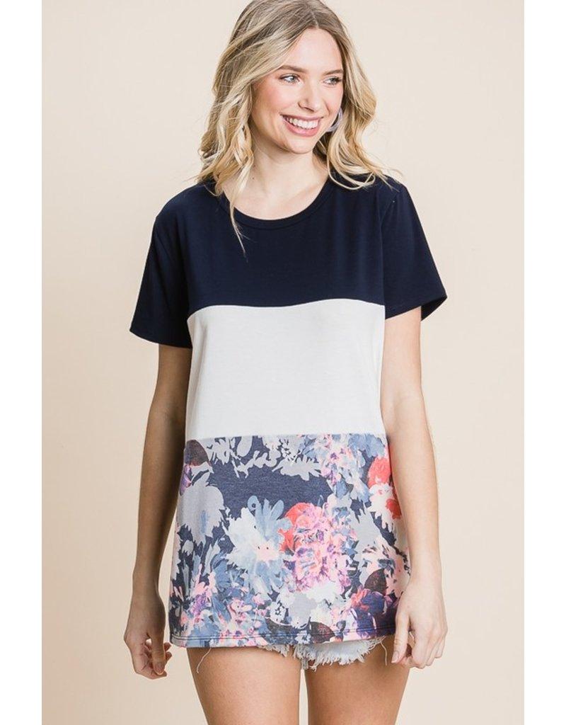 The Rosie Floral Color Block Tee - Navy
