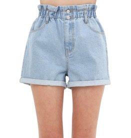 The Rayne Paper Bag Waist Denim Shorts