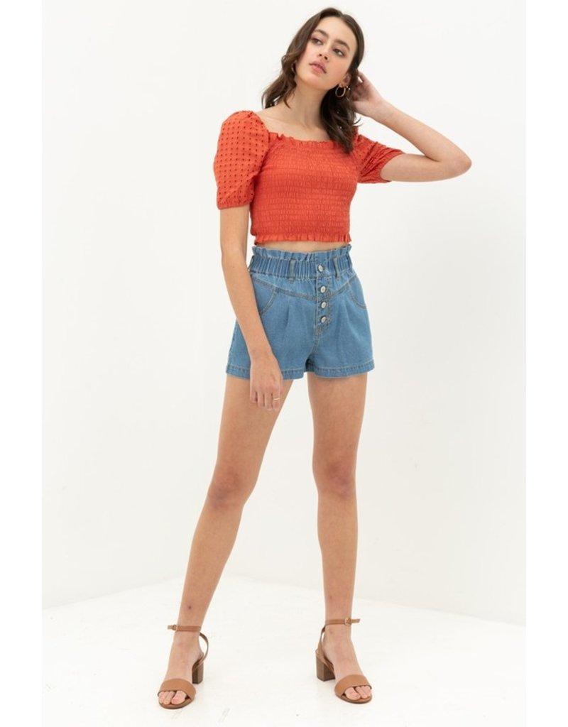 The Monica Button Fly Denim Shorts