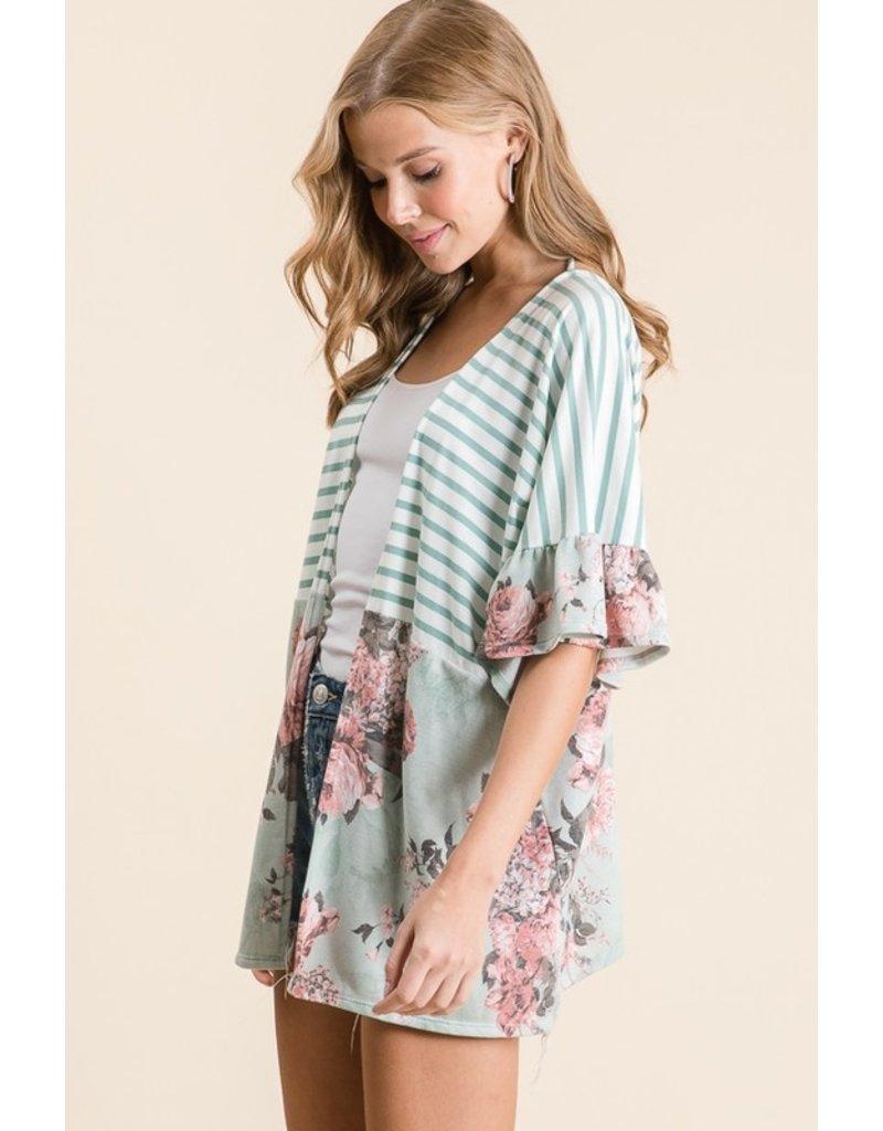 The Tessa Striped + Floral Kimono