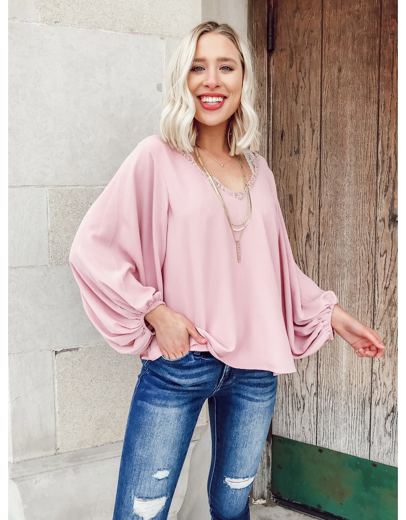 The Making Me Blush Lace Blouse