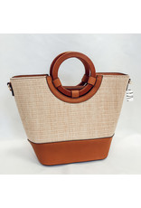 The Oasis Straw + Faux Leather Purse
