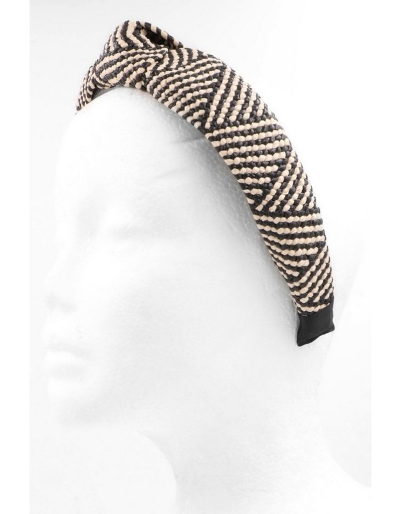 Black + White Straw Headband