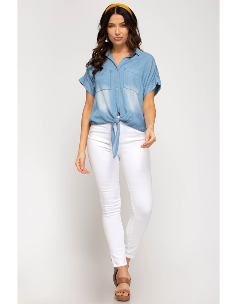 The Blue's My Color Chambray Button Up Top