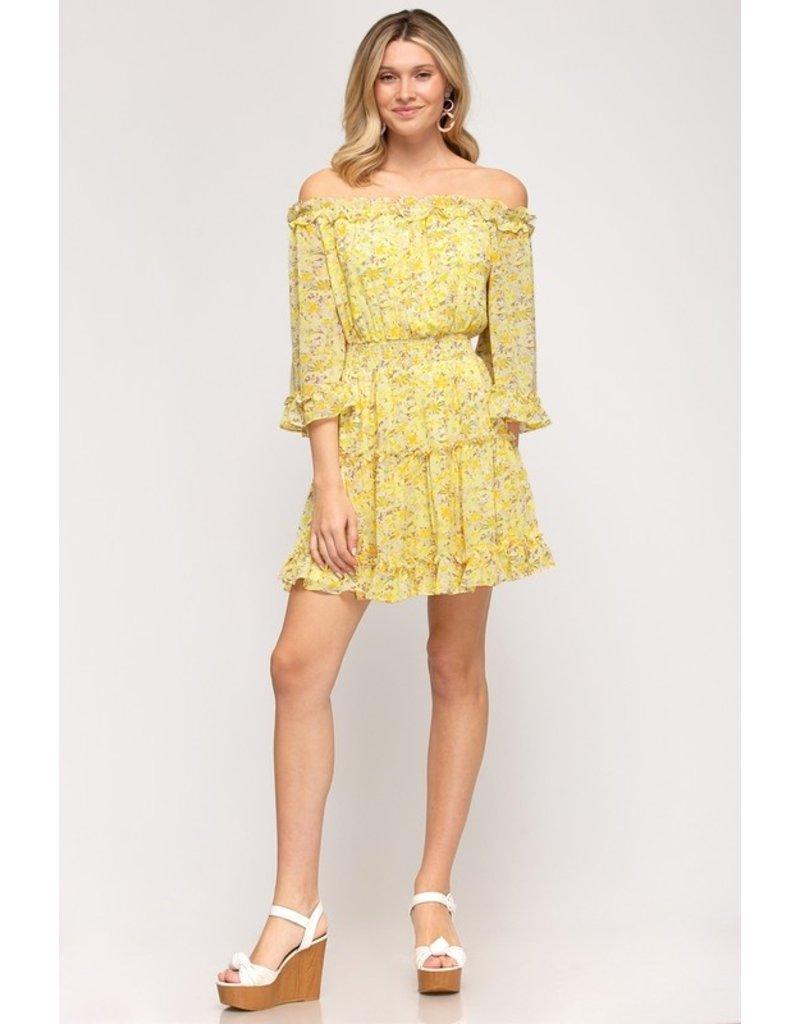 The Jacey Off The Shoulder Floral Dress