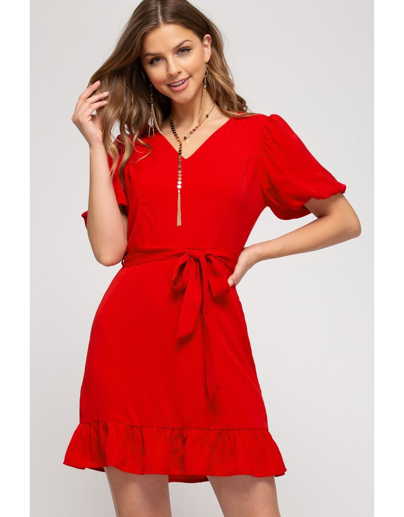 The Red Hot Bubble Sleeve Dress