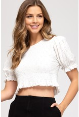 The Saturday Style Smocked Eyelet Crop Top