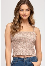 The Perfect Match Floral Smocked Crop Top