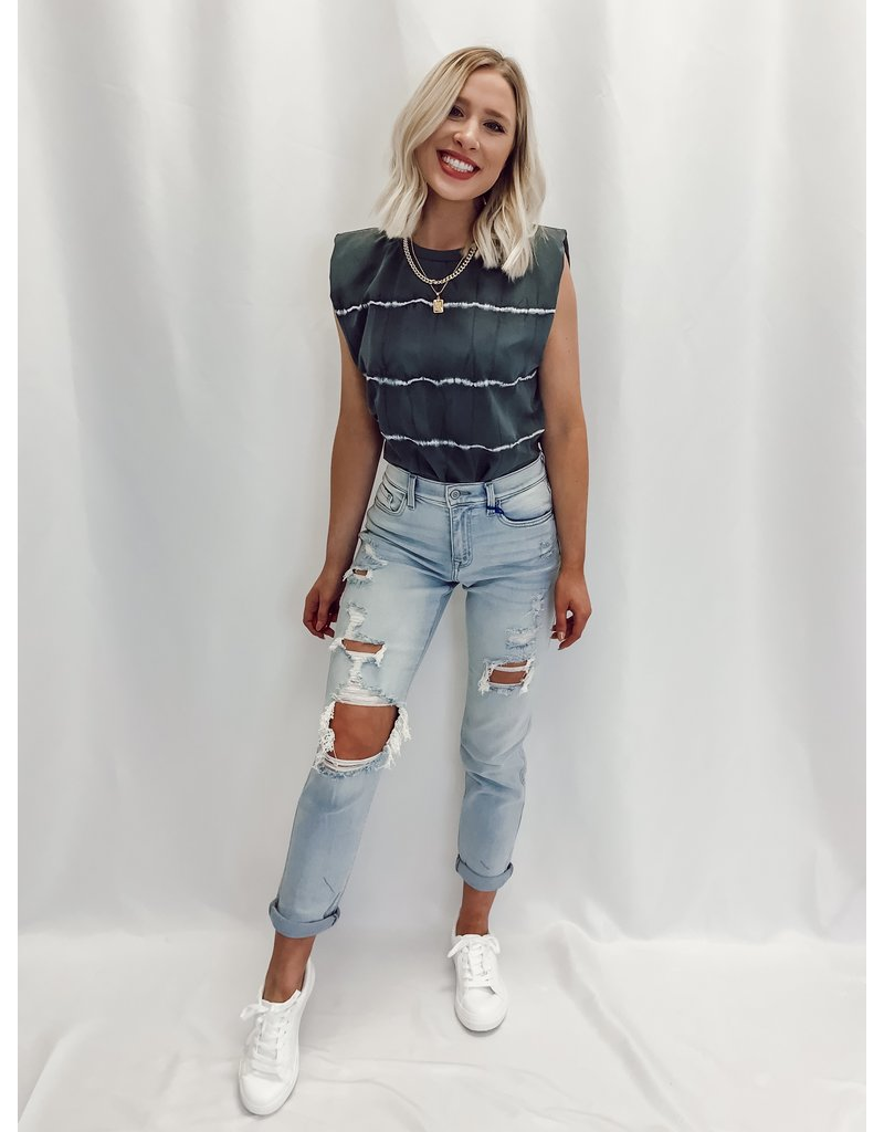 The Stay Cool Tie Dye Shoulder Padded Top