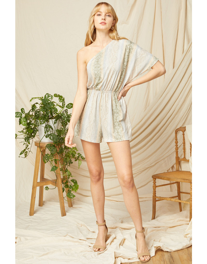 The Evie Snake Print One Shoulder Romper