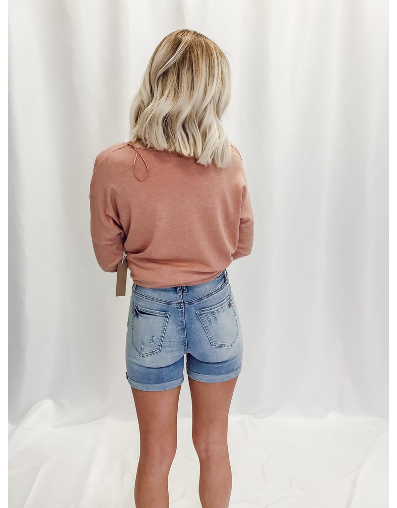 The Glen Button Fly Denim Shorts