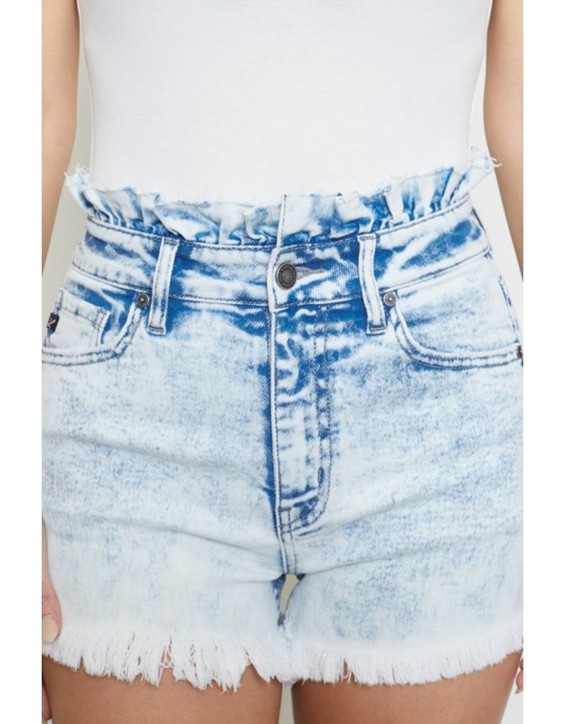 The Cannonball High Rise Acid Wash Denim Shorts