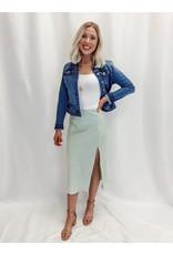 The Color Pop Satin Midi Skirt