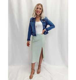 The Color Pop Satin Midi Skirt