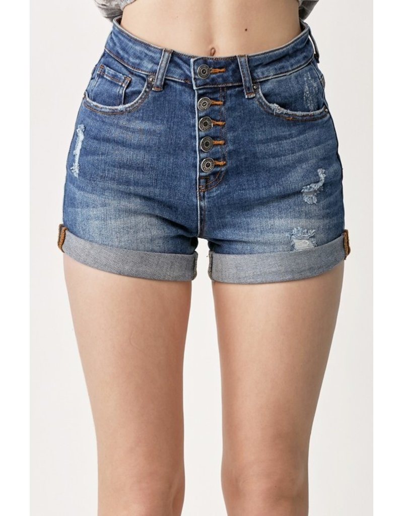 The Mandy Button Fly Denim Shorts