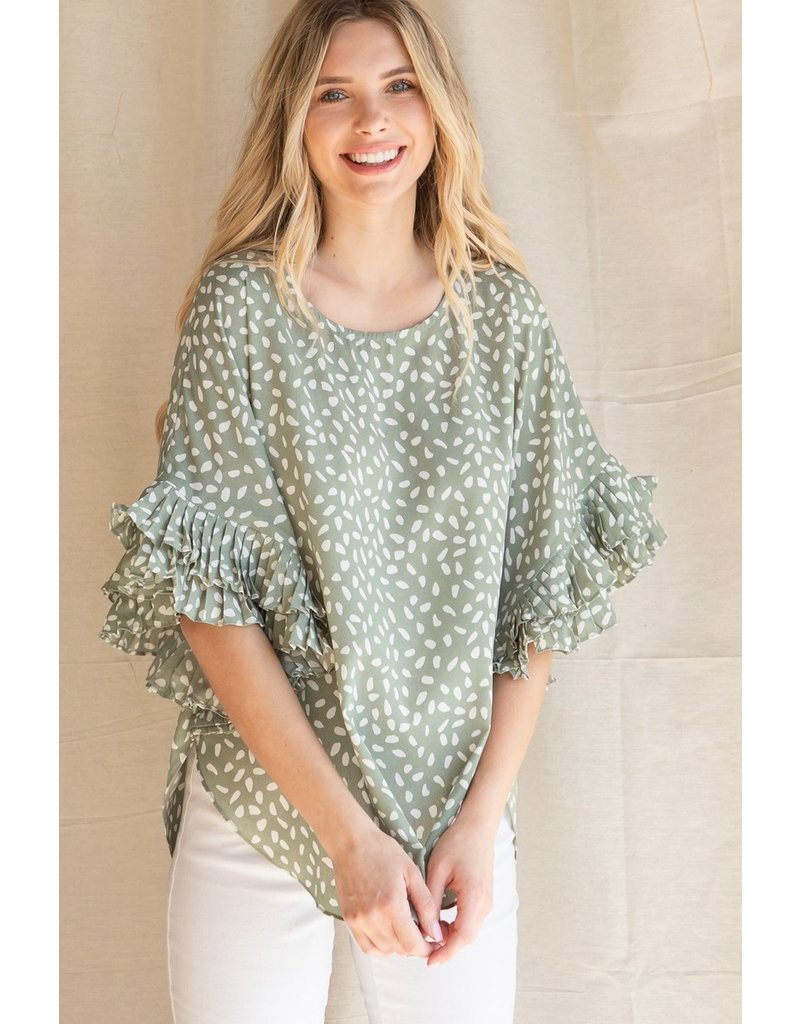The Treasure Spotted Ruffle Sleeve Top