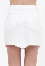 The Priscilla Raw Hem Denim Skirt - White