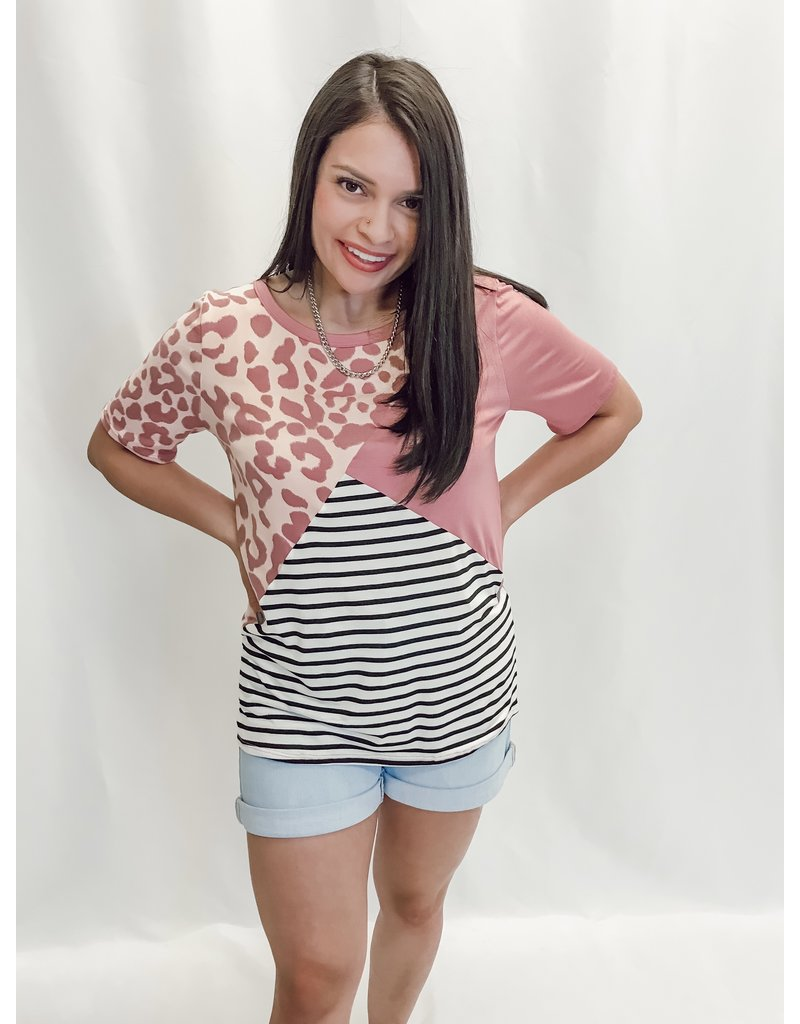 The Brittnee Leopard + Striped Color Block Tee