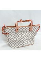 The Caroline Check Tote Shoulder Bag & Pouch Set