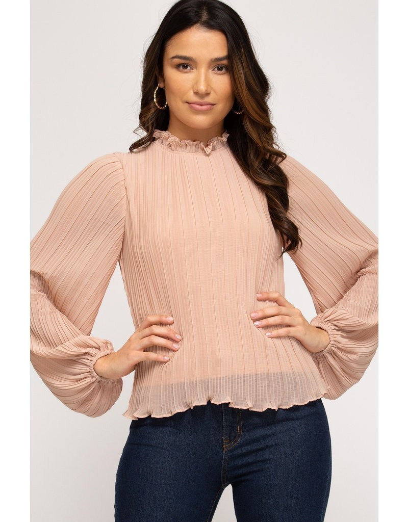 The Tatum Pleated Mock Neck Top